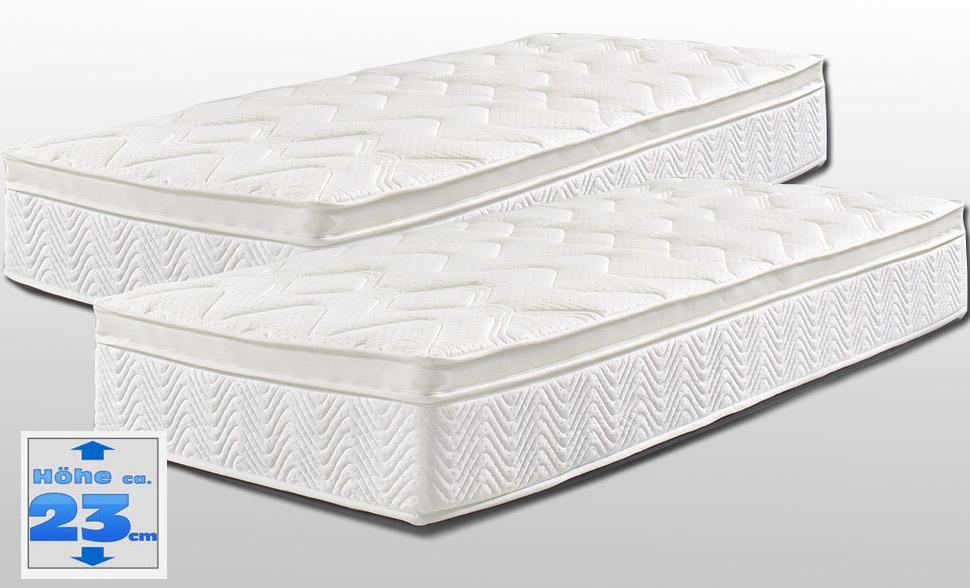 2er set matratze royal klima 90x200 cm mit topperauflagen in h rte h2 h rte h3. Black Bedroom Furniture Sets. Home Design Ideas