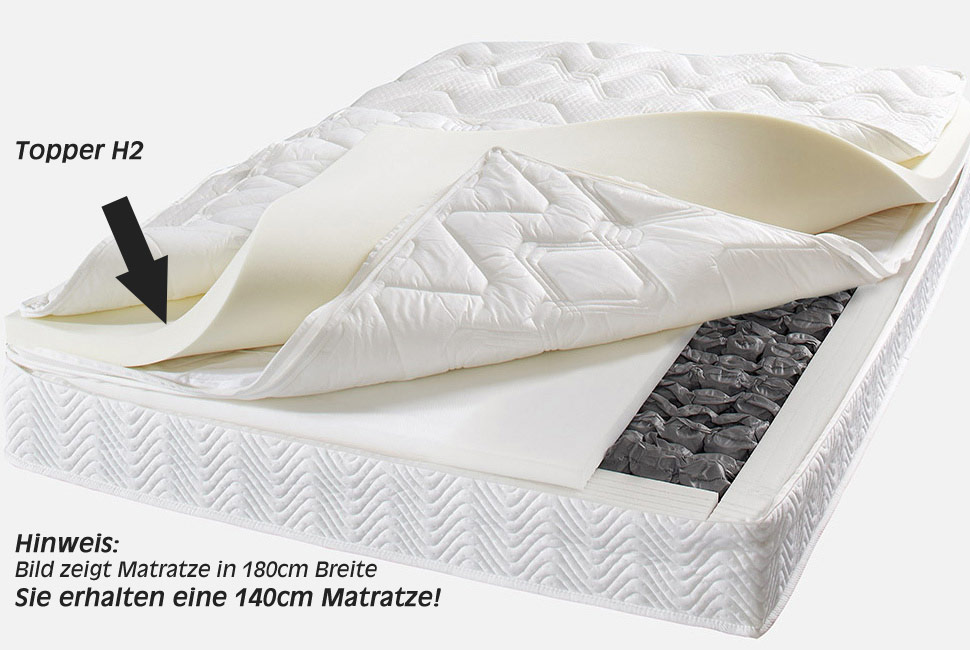 matratze royal klima 140x200 cm mit visko topperauflage in h rte h2 ebay. Black Bedroom Furniture Sets. Home Design Ideas